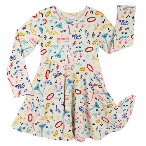 Girls music print long sleeve twirl dress