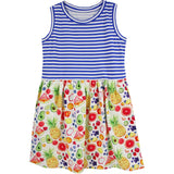 Fruit print sleeveless girls dress with striped top