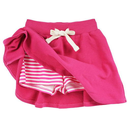 Pink girls skort with pink stripe shorts