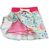 Girls skort with sealife print and pink striped shorts
