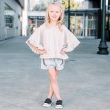 Paper wings grey butterfly short sleeve girls hoodie