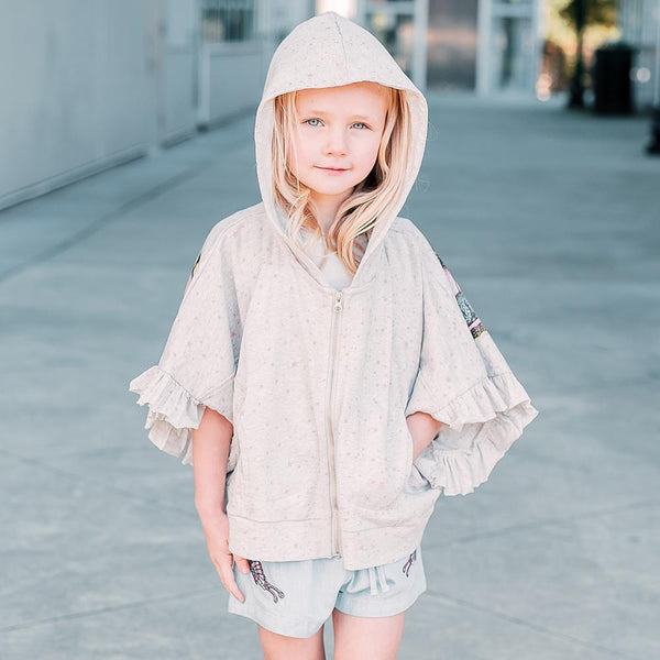 Paper wings grey heather butterfly short sleeve girls hoodie poncho