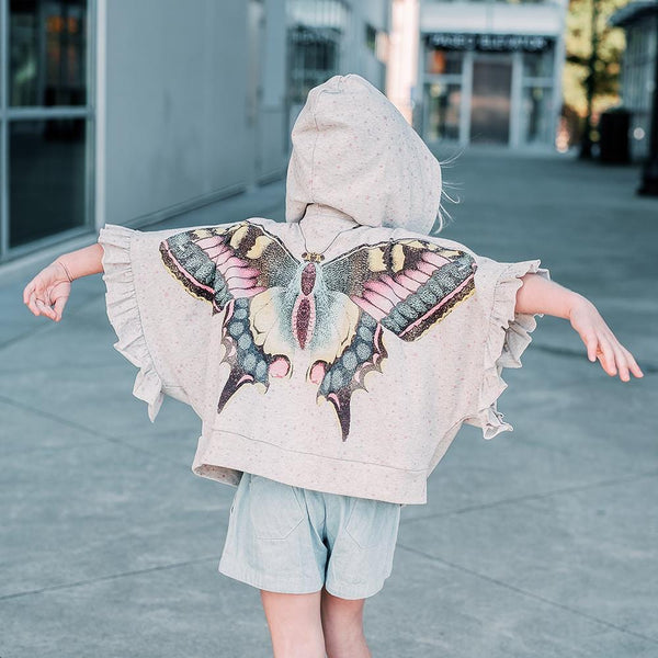 Paper wings butterfly print girls poncho hoodie