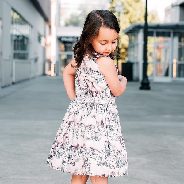 Paper wings photorealistic horse print girls sleeveless dress