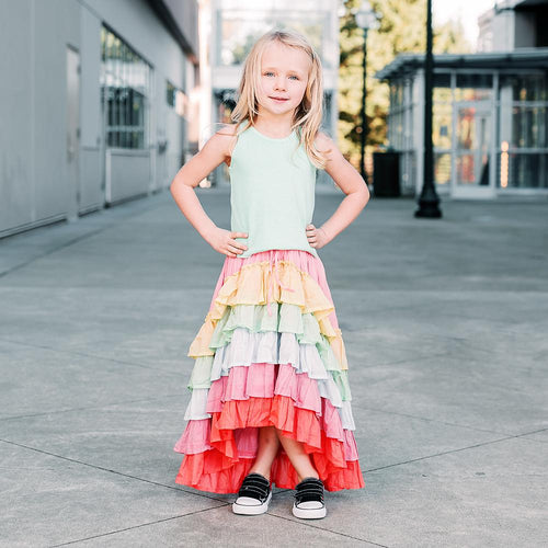 Paper wings rainbow tiered girls maxi skirt