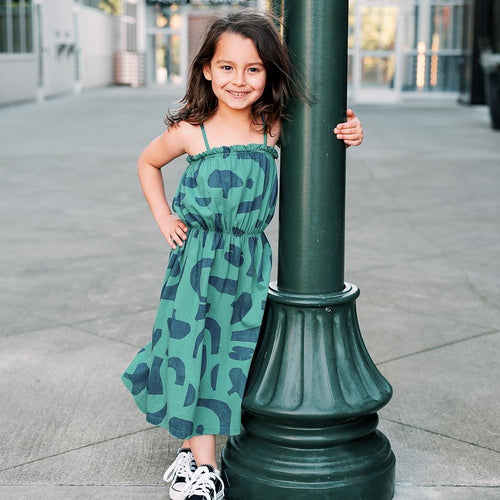 Bobo choses green abstract girls maxi dress