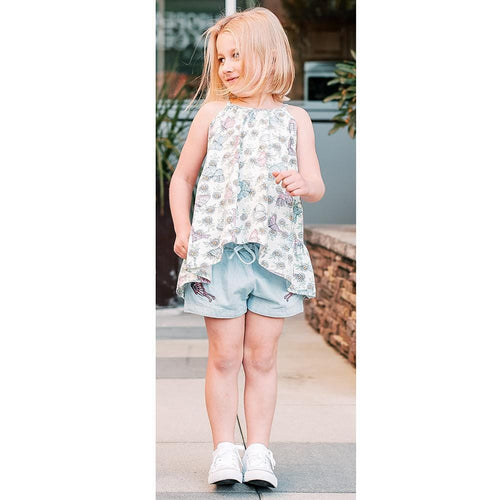 Paper wings blue chambray butterfly girls shorts