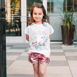 Paper wings pink sequin and chambray girls shorts