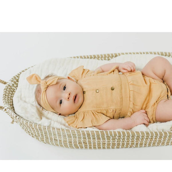 L'ovedbaby Organic Muslin Apricot Ruffle Baby Romper