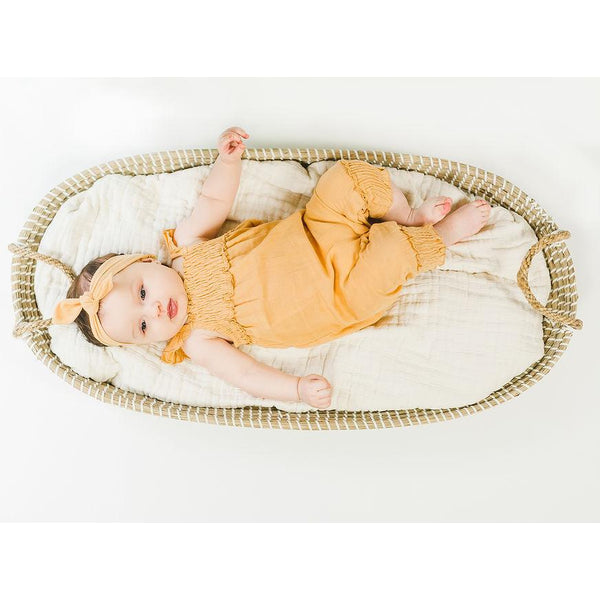 Loved baby yellow knit baby girl romper