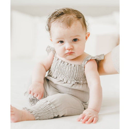 Loved baby grey knit baby girl romper
