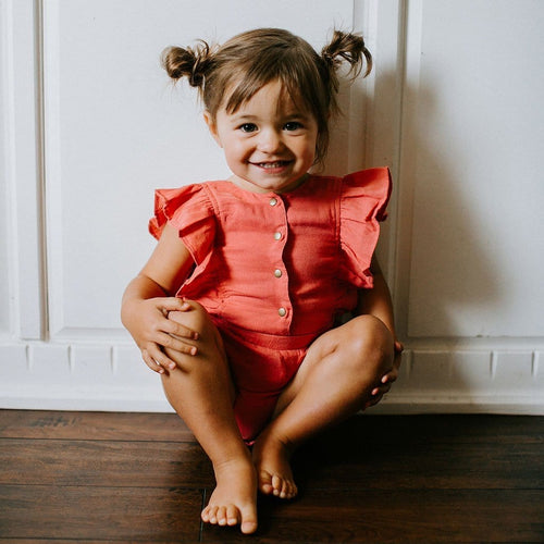 Loved baby salmon romper for toddler girl