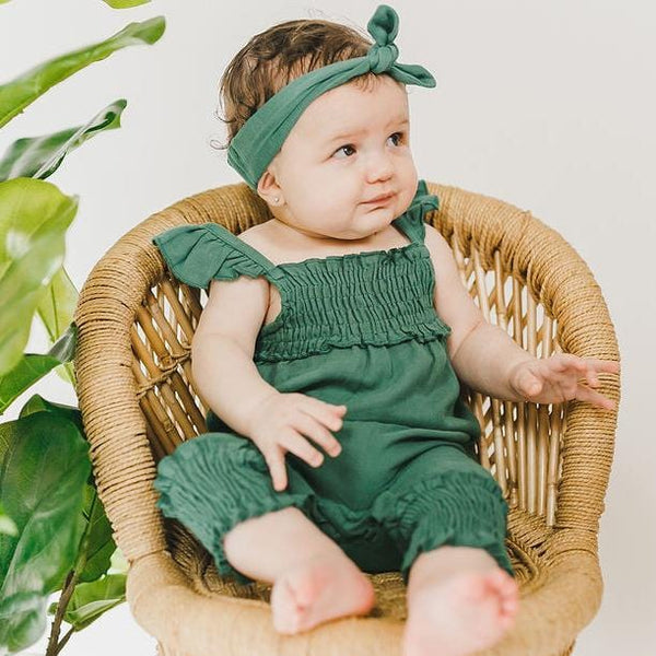 Loved baby green knit baby girl jumpsuit romper