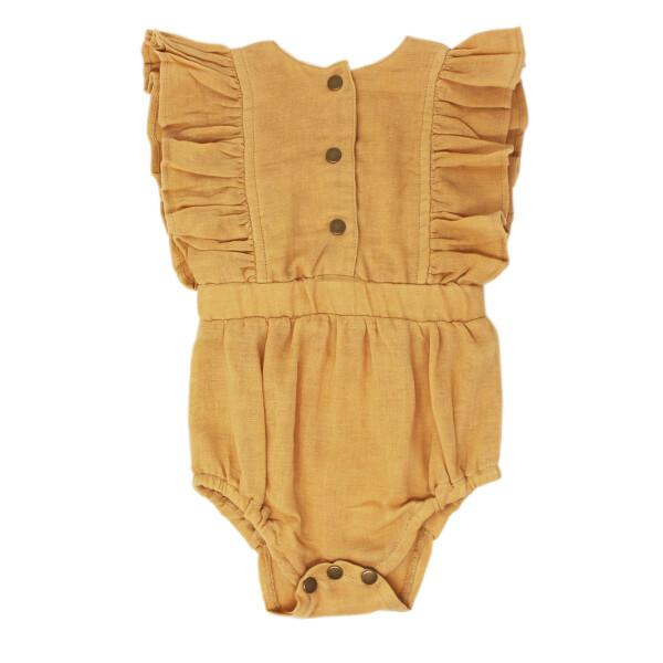 Organic Muslin Apricot Ruffle Baby Romper by L'ovedbaby