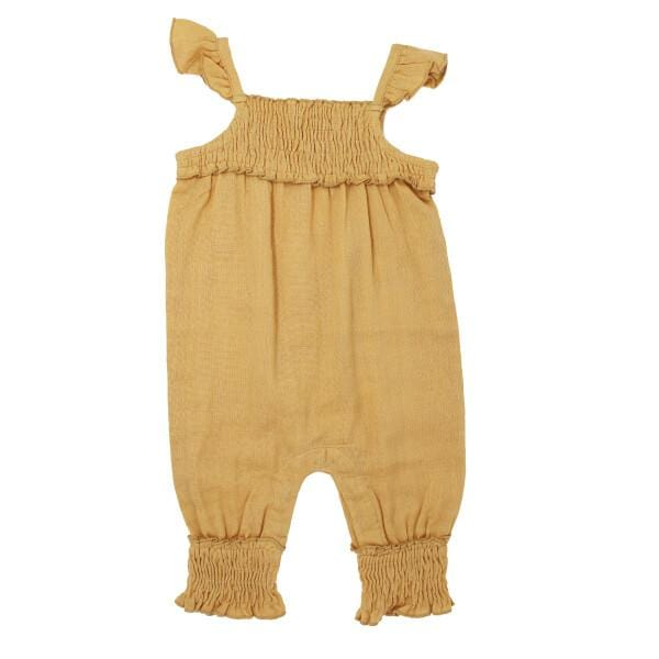 Organic Muslin Apricot Sleeveless Girls Romper by L'ovedbaby