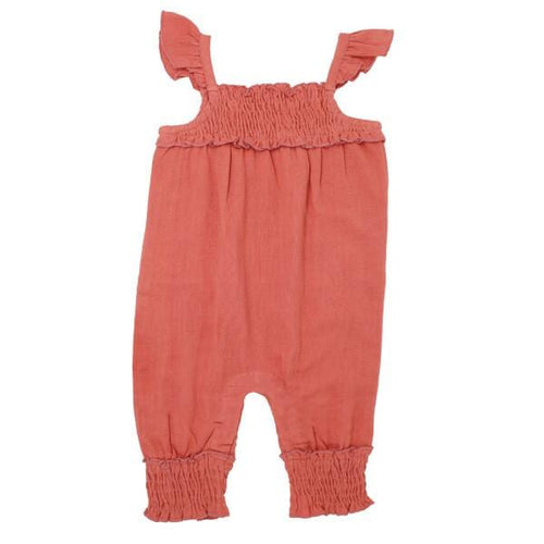Organic Muslin Melon Sleeveless Girls Romper by L'ovedbaby