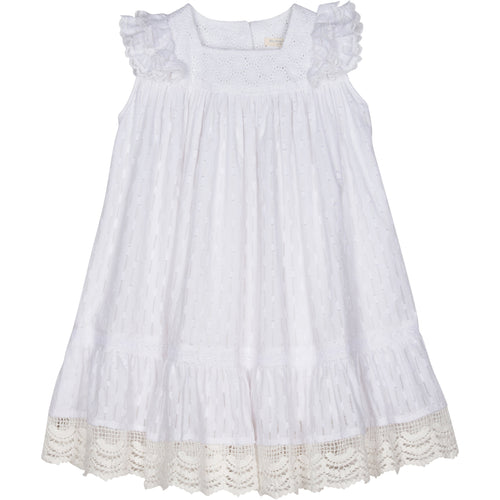 Girls white sleeveless dress with lace trim