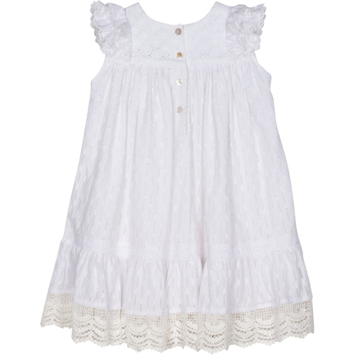 White sleeveless dress with lace trim for girls