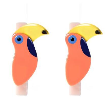 Girls toucan hair clips on alligator clip