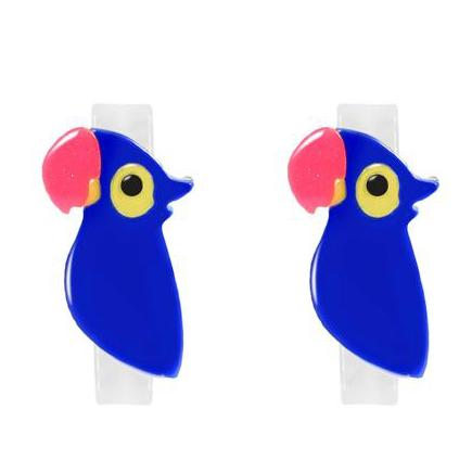 Girls blue parrot hair clips