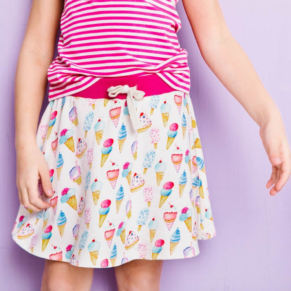 Girls ice cream skort with pink stripe tank