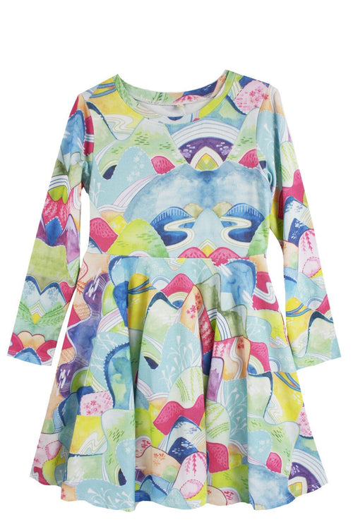Painted Mountain Jersey Twirl Dress by Little Skye - Little Skye Children's Boutique