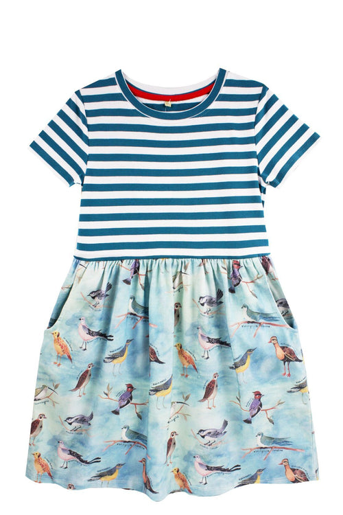 Little Skye Ornithology Jersey Combo Dress - Little Skye Children's Boutique