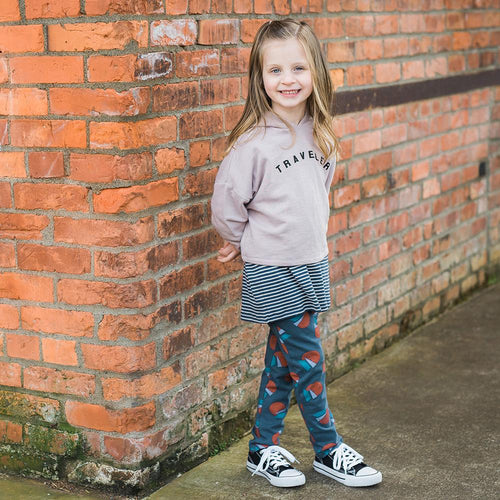 Girls pink hoodie, navy stripe tee and blue print leggings