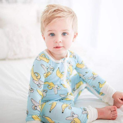 Little sleepies banana print baby boy romper