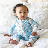 Little sleepies elephant print baby boy romper