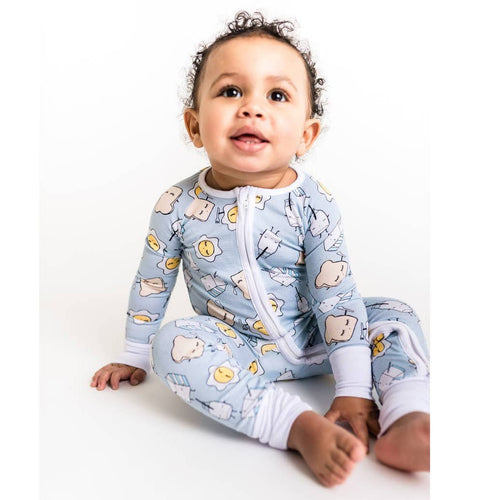 Little sleepies breakfast print baby boy romper