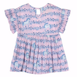 Pink and blue print baby girl dress