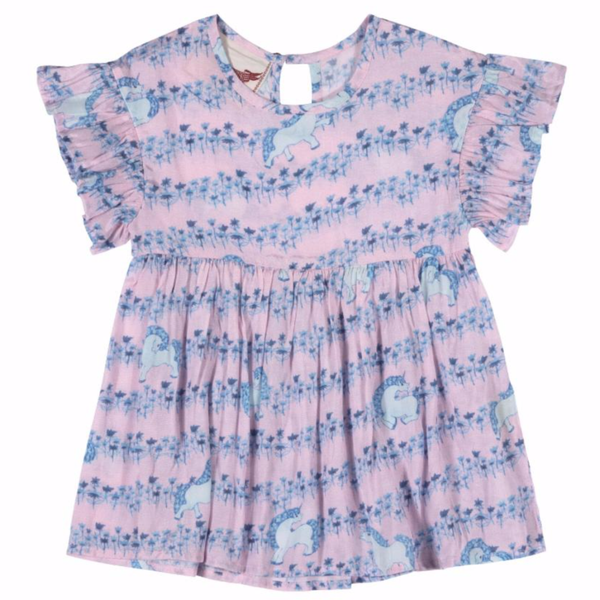Pink and blue baby girl unicorn print short sleeve dress with ruffle sleeves