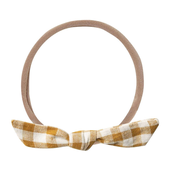 Rylee and Cru Goldenrod Check Knot Baby Headband