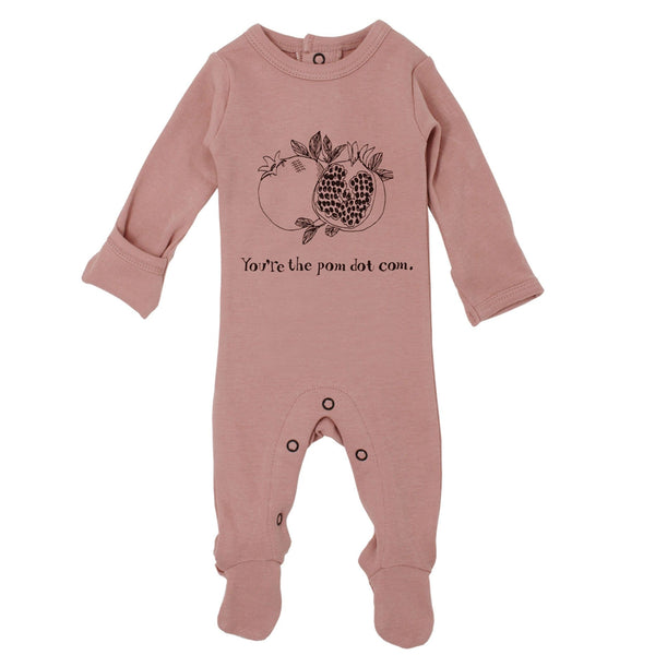 Loved baby mauve knit baby girl footie romper