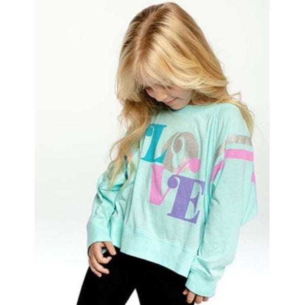 Chaser LOVE Jersey Boxy Cropped Raglan Top