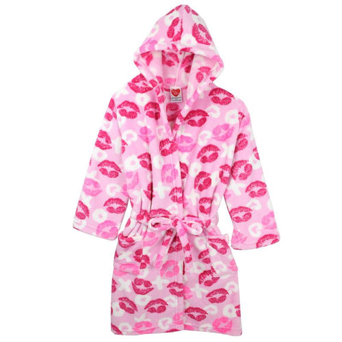 Lips printed fleece girls robe with hood