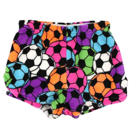 Neon soccer ball print girls plush shorts