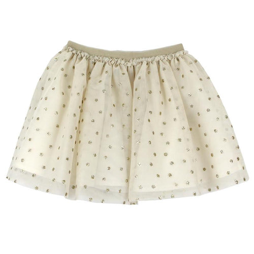 Gold tulle overlay girls skirt with dots