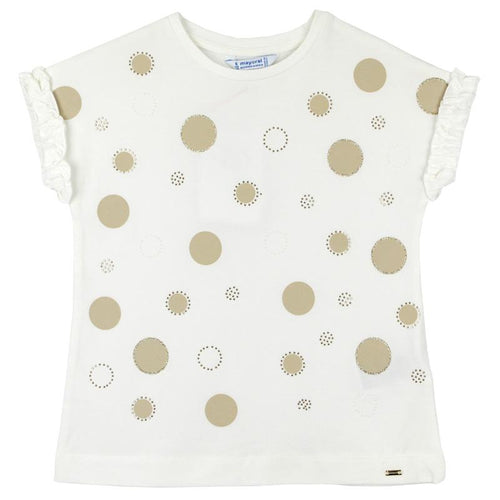 Cream girls short sleeve tee shirt with gold dot pattern