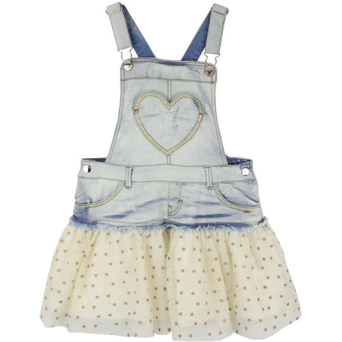 Girls denim overall dress with tulle skirt