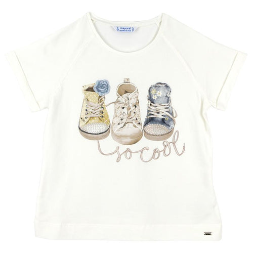 Cream short sleeve girls tee shirt with sneaker graphic