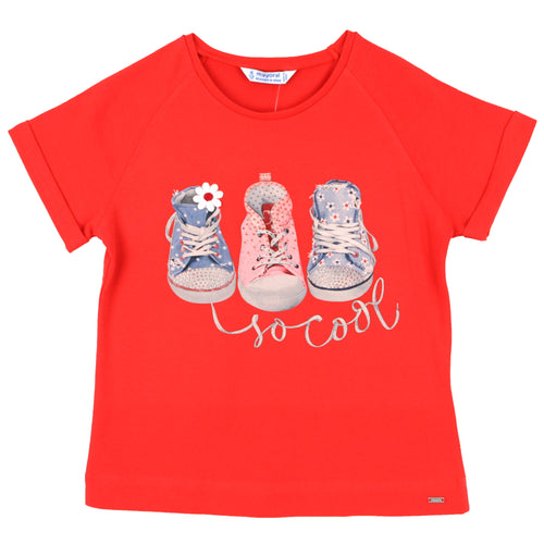Coral red short sleeve girls graphic tee with sneakers