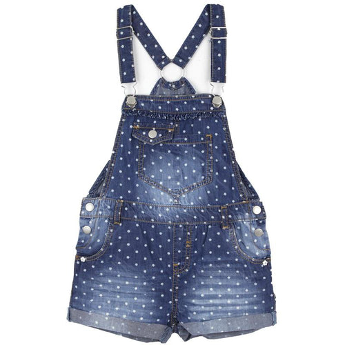 Denim short overalls for girls with star print