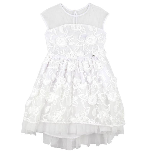 White lace tulle girls dress with mesh bodice