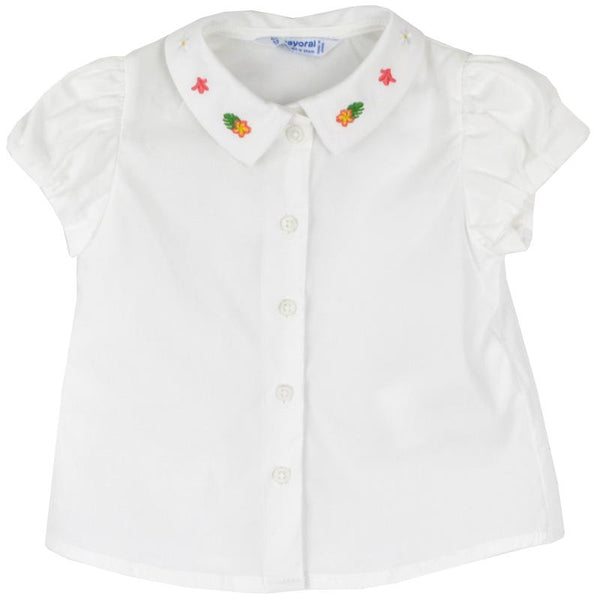 Baby girl white blouse with embroidered collar
