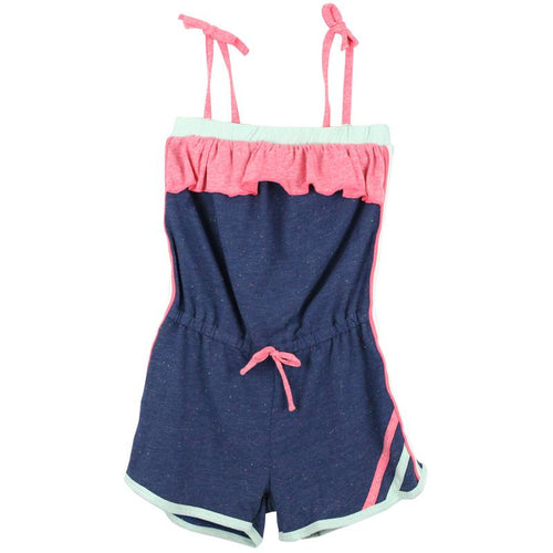 Tween girl blue and pink romper with tie shoulders