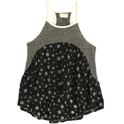 Swing shape tank for tweens with star print