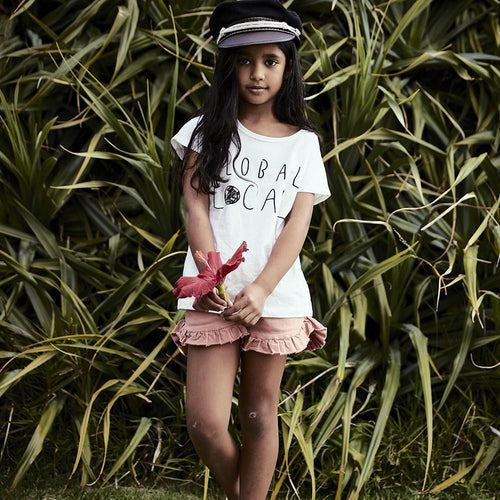 Cream short sleeve tee with Local graphic for girls
