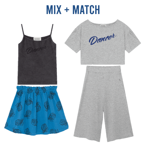 Bobo choses blue pineapple jersey knit girls skirt
